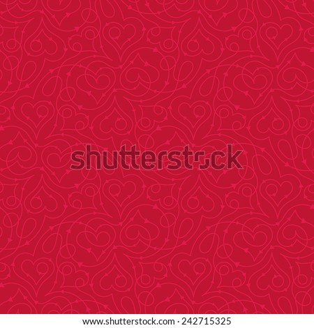Seamless pattern with heart shapes and scroll lines vector illustration - stock vector