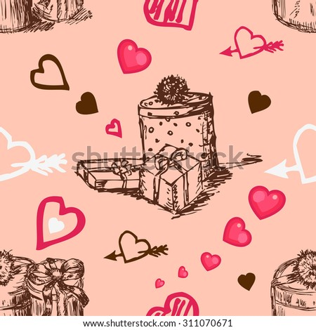 Seamless pattern with hearts and gifts boxes. Decorative background with hearts and gift box. Romantic background. Greeting design. Use it for birthdays and Valentines Day design. - stock vector