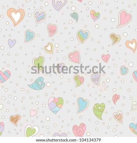 seamless pattern with hearts and polka dots - stock vector