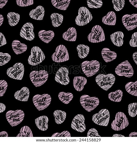 Seamless pattern with hearts and typography. Endless Valentine Day background. Abstract heart texture. Repeating ornament. Dark backdrop. Holiday template. Black and pink colors. - stock vector
