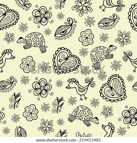 Seamless pattern with hearts, birds, turtles and flowers, isolated mini drawings, monochrome vector illustration - stock vector