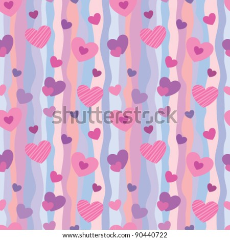 Seamless pattern with hearts for Valentine's Day backgrounds - stock vector