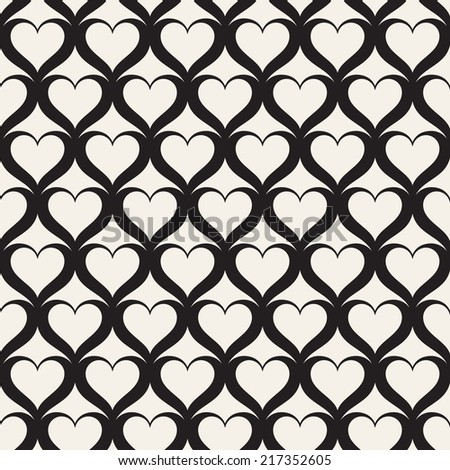 Seamless pattern with hearts. Grid background. Stylish texture with hearts - stock vector