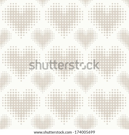 Seamless pattern with hearts. Vector halftone dots.  - stock vector