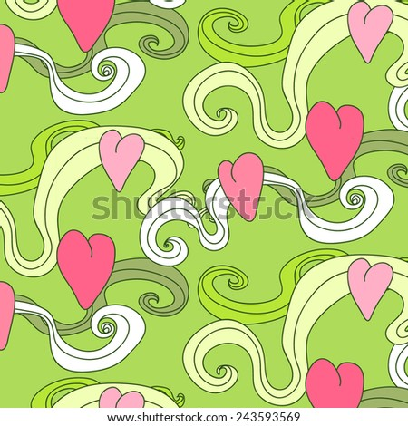 Seamless pattern with hearts. Vector repeating texture. Background for Valentine's Day. - stock vector
