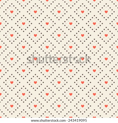Seamless pattern with hearts. Vector repeating texture. Geometric background with dotted rhombuses and hearts - stock vector