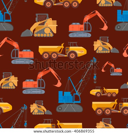 Seamless pattern with heavy industry construction crane, articulated truck, excavator, compact track loader in flat style.Vector illustration of mining machinery, equipment. Transportation decoration.