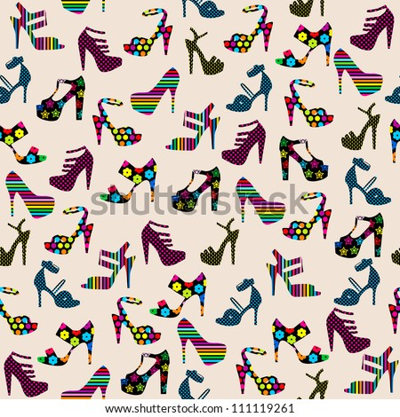 Seamless pattern with heeled shoes / Seamless pattern with  woman shoes  illustration background / Seamless ladies high heels shoes pattern - stock vector