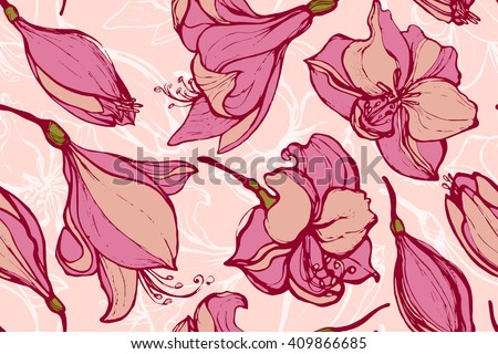 Seamless pattern with Hippeastrum. Amaryllis. Wrapping. Texture. Print.  Background with flowers. Hand drawn. - stock vector