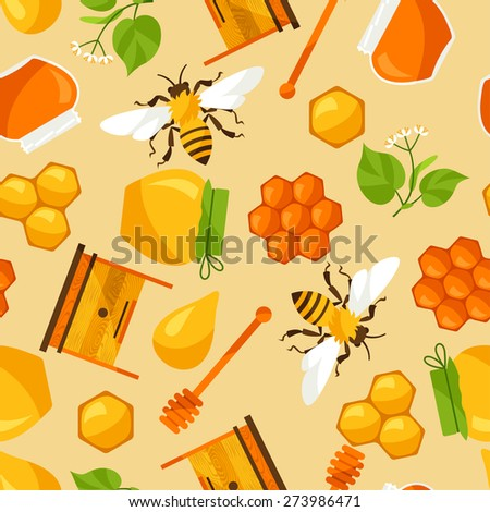 Seamless pattern with honey and bee objects.