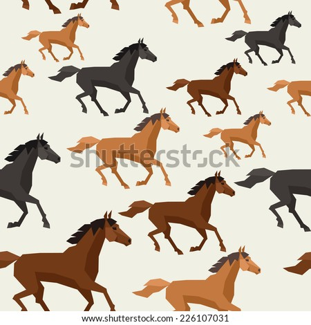 Seamless pattern with horse running in flat style. - stock vector