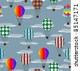 Seamless pattern with hot air balloons and clouds - stock vector