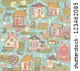 seamless pattern with houses - stock