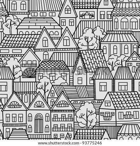 Seamless pattern with houses and trees - stock vector