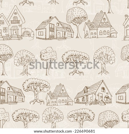 Seamless pattern with houses and trees. Hand drawing - stock vector