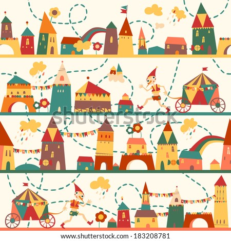 Seamless pattern with houses for childrens background. Vintage color. Seamless pattern can be used for wallpaper, pattern fills, web page background, surface textures - stock vector