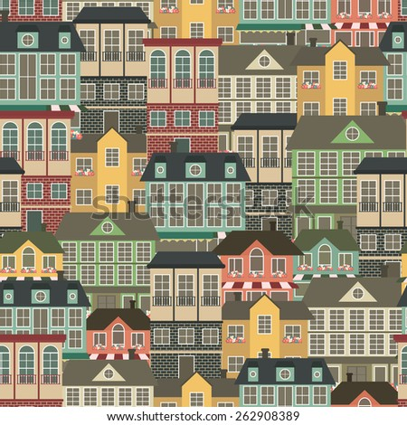 Seamless pattern with houses. Vector illustration - stock vector
