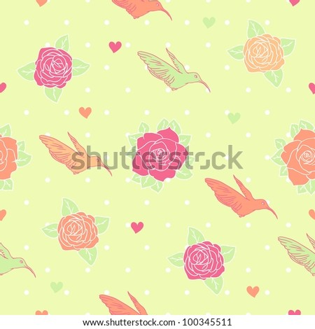 Seamless pattern with hummingbird - stock vector