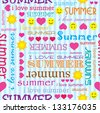 Seamless pattern with i love summer - stock vector