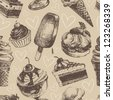Seamless pattern with ice cream and cakes - stock