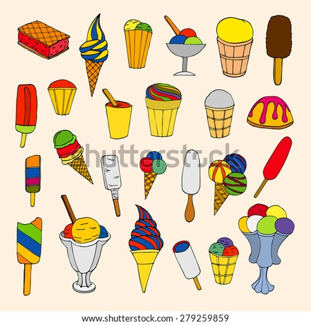Seamless pattern with ice cream. Vector illustration - stock vector