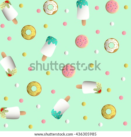 Seamless pattern with ice lolly, cookies in a pink glaze, donuts with cream and sprinkles and colorful round candy, on a light turquoise monochromatic background - stock vector