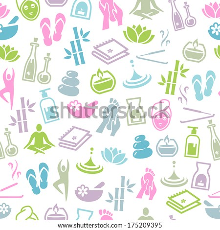 Seamless Pattern With Icons Representing Relaxation and Wellness - stock vector