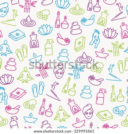 Seamless Pattern With Icons Representing Relaxation, Wellness, Healthy Lifestyle - stock vector
