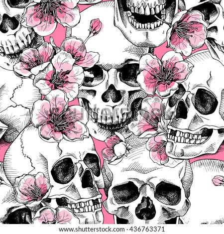 Seamless pattern with image a skull and with flowers cherry. Vector illustration. - stock vector