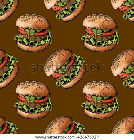 Seamless pattern with image of a Burger on brown background. Vector illustration.