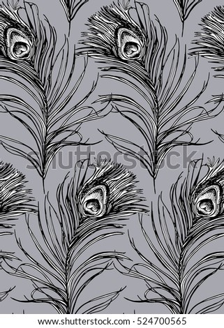 Seamless pattern with image of a Peacock feather on a gray background. Vector illustration.