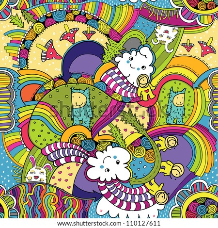 Seamless pattern with imagination color world