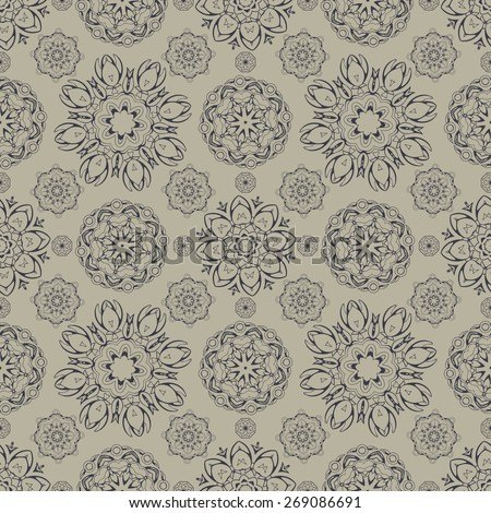 Seamless pattern with Indian circle decor. vector illustration. - stock vector
