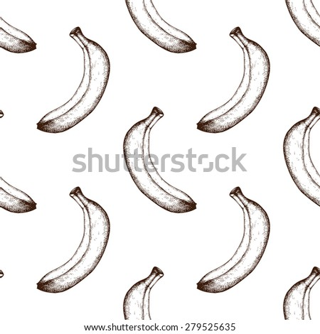 Seamless pattern with ink hand drawn banana sketch. Vector vintage fruit background - stock vector