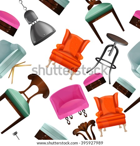 Seamless pattern with interior objects.Chairs, chair, lamp.Background to the interior.Elements of interior.Interior of a living room. Modern flat design illustration.Interior set art. - stock vector