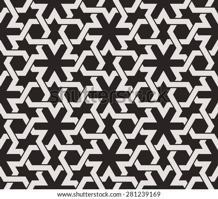 Seamless pattern with intersecting dark stripes, poly lines, polygons and twelve pointed star in the traditional Arabic style on dark background. Arabesque. - stock vector