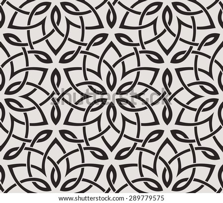 Seamless pattern with intersecting stripes. Abstract floral pattern in Arabic style on light background. - stock vector
