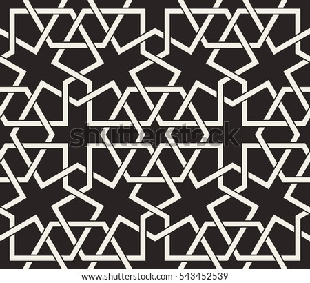 Seamless pattern with intersecting stripes, poly lines, polygons. Abstract ornament in Arabian style. Monochrome texture for printing