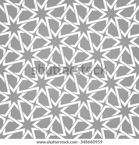 Seamless pattern with intersecting stripes, poly lines, polygons, stars. Abstract ornament in Arabic style. Arabesque. - stock vector