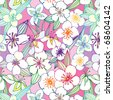 seamless pattern with jasmine - stock vector