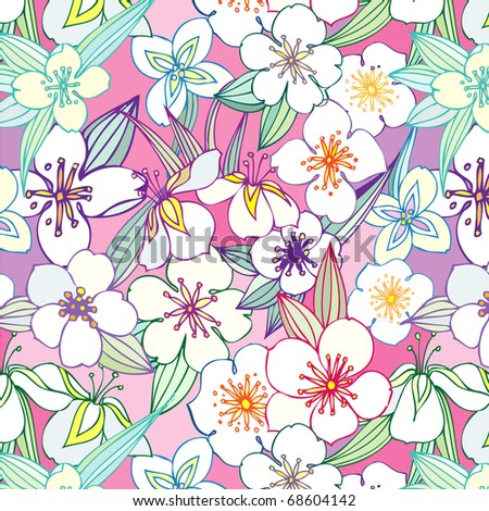 seamless pattern with jasmine - stock vector