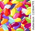 Seamless pattern with jelly beans of various colors. Vector illustration. - stock vector