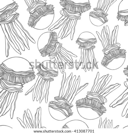 Seamless pattern with jellyfish with a grey stroke.