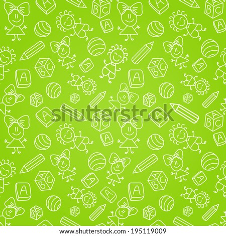 Seamless Pattern with Kids Silhouettes on Green Background. Simple Illustrations - stock vector