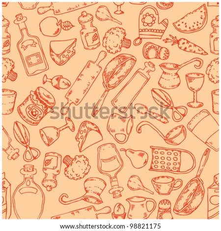 seamless pattern with kitchen accessories - stock vector