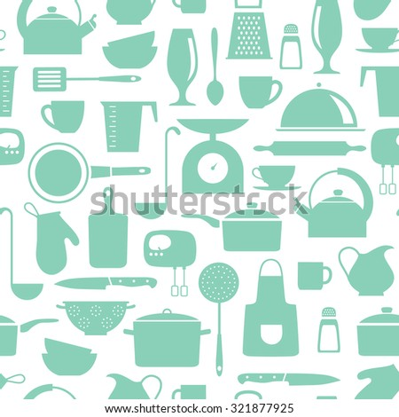 seamless  pattern with kitchen flat icons - stock vector