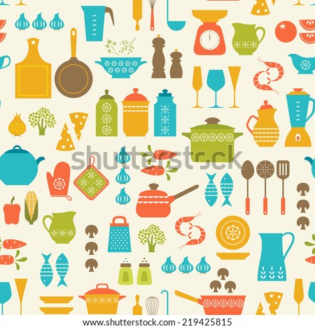 Seamless pattern with kitchen utensils and food. - stock vector