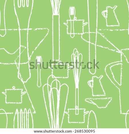 seamless pattern with kitchen utensils, vector - stock vector