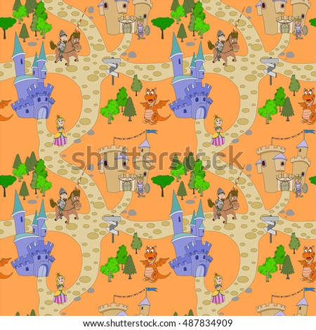 Seamless pattern with knight design elements, medieval pattern