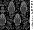 seamless pattern with lace decorative owls - stock vector
